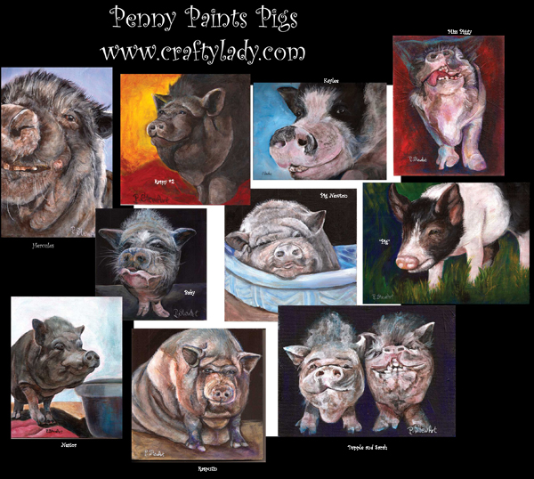 Pig Paintings by Penny Lee StewArty