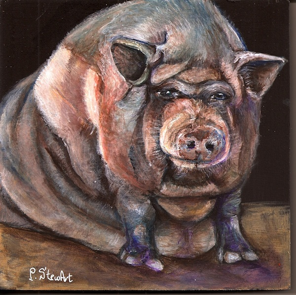 Rasputia, Large Pig Pet Portrait Painting, Acrylic
