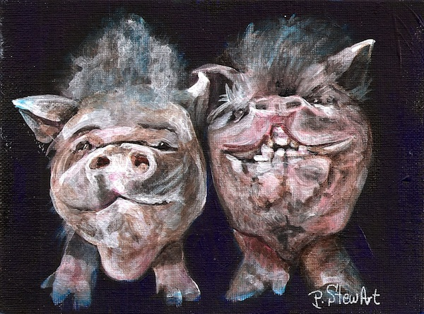 Dapple and Sarah, a pair of potbelly pigs Painting
